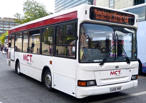 EU06 KNR 'MCT Travel' (Manchester Community Transport). Dennis Dart SLF / Plaxton Mini Pointer on 'Dennis Basford's railsroadsrunways.blogspot.co.uk'