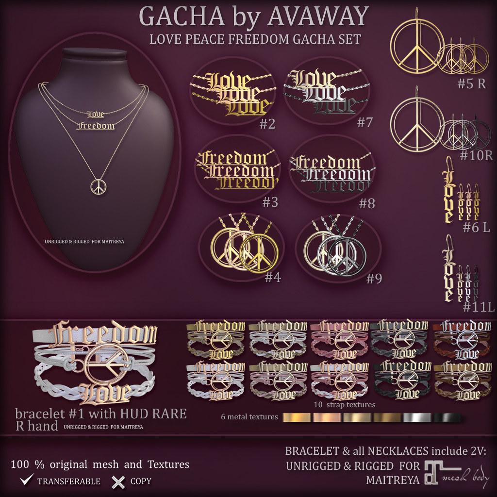 LOVE PEACE FREEDOM GACHA SET (at Gacha Garden))