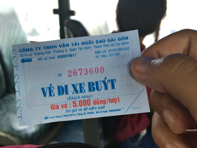 ベトナム語オンリーのバスチケット