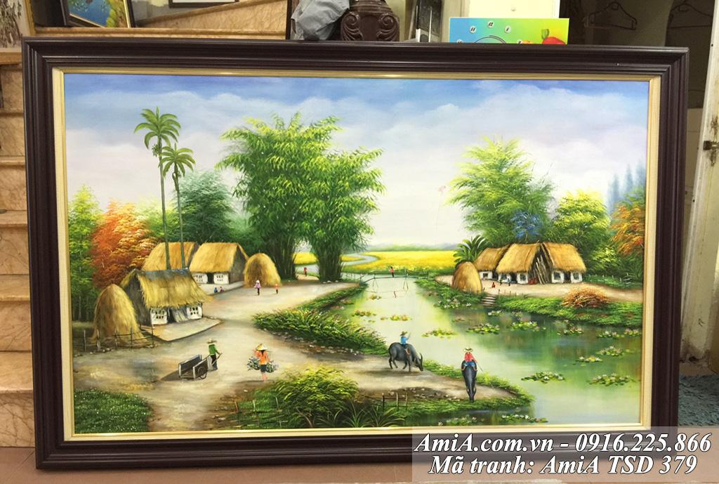 Tranh sơn dầu vẽ phong cảnh cuộc sống thôn quê em