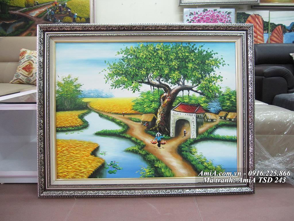 Tranh sơn dầu vẽ làng quê em đơn giản