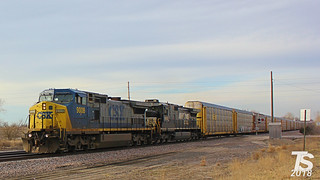 CSX 9008 Leads SB Autorack Near Spring Hill, KS 3-17-14 | by KansasScanner