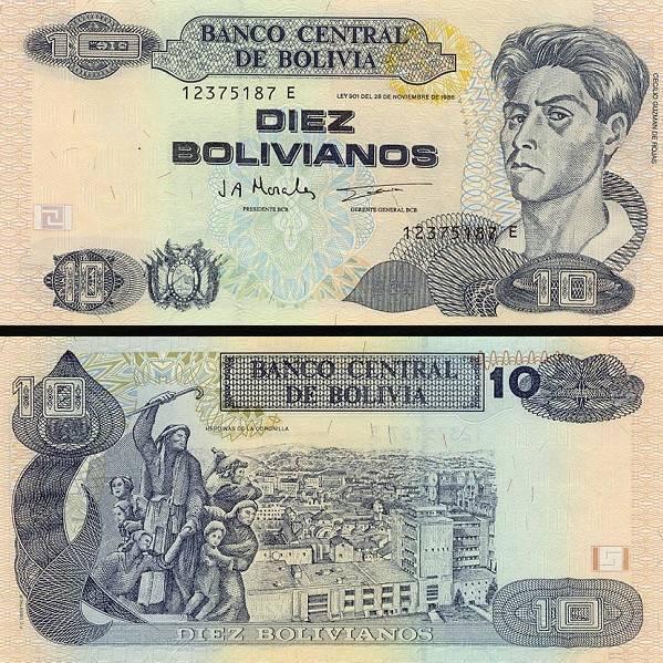 10 Bolivianos Bolívia 1997, P204c