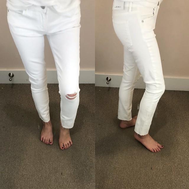 LOFT Modern Destructed Skinny Crop Jeans in White, size 24/00 regular