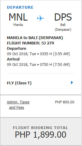 Cebu Pacific Sale Manila to Bali October 9, 2018