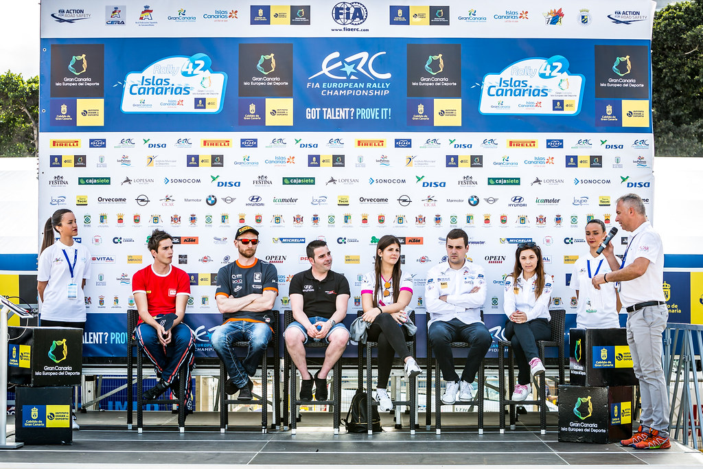 conference de presse, press conference during the 2018 European Rally Championship ERC Rally Islas Canarias, El Corte Inglés,  from May 3 to 5, at Las Palmas, Spain - Photo Thomas Fenetre / DPPI