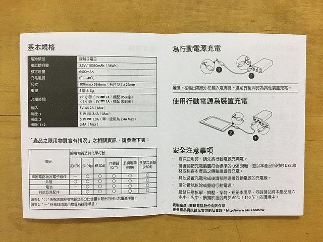 說明書之基本規格@ASUS ZenPower Duo 10050行動電源