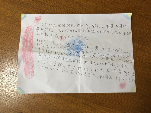 娘が誕生日にくれたお手紙