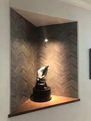 Ebonized Dyed Walnut Wood Veneer Cylinder Pedestal