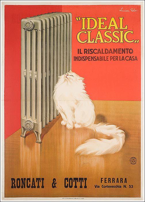 """Ideal Classic"" the Heating Indispensable for the House"" Roncati & Scotti Co. 53, via Cortevecchia Ferrara. Poster by Luisa Polo, 1926"