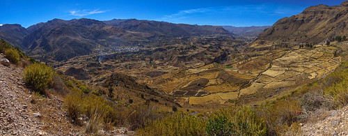 travel peru andes landscape sky mountains colcacanyon nature grass ancient field tree