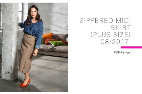 Zippered Midi Skirt