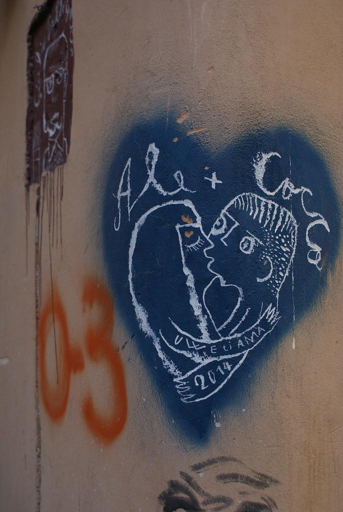 Street Art à Palerme : De l'amour et des bisous.
