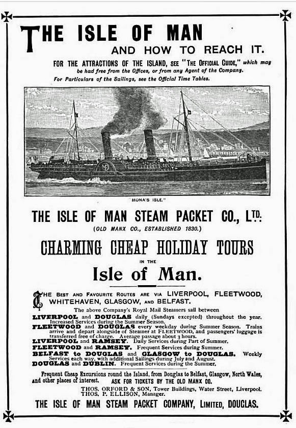 Isle of Man Steam Packet Company advertising poster.