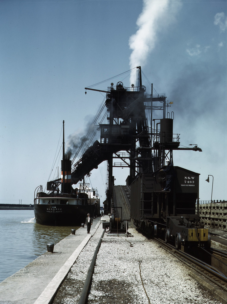 Loading a lake freighter with coal at the Pennsylvania R.R. coal docks, for shipment to other Great Lake ports, Sandusky, Ohio. 1943 May