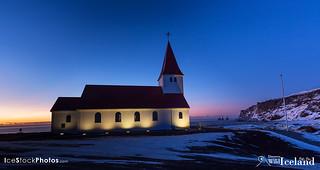 The Vik church (Víkurkirkja) on the hill at Vík village in the morning glow - #Iceland