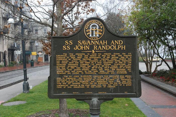 Monument in Savannah, Georgia, marking the S.S. Savannah and S.S. John Randolph. Photo taken on February 17, 2008.