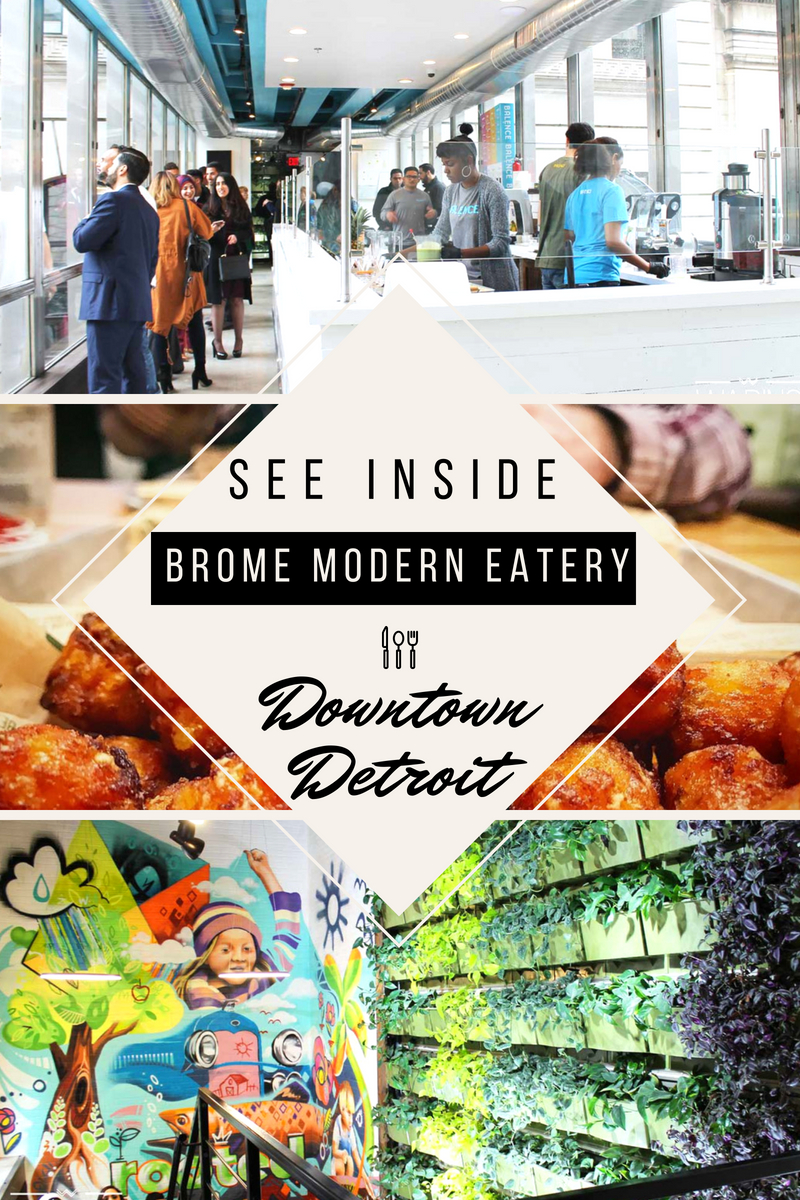 Brome Modern Eatery In Downtown Detroit Is As Stunning As It Is Delicious | (via Wading in Big Shoes) // Brome Modern Eatery in Downtown Detroit serves up fresh burgers, salads, juices, and more in a fine-casual restaurant setting. Organic ingredients pair with a beautifully organic setting, including a living wall, living ceiling, second-story sky walk and juice bar, and original murals to convey the perfect mix of modern and natural decor.