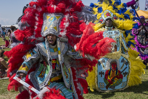 Black Seminoles Mardi Gras Indians during Jazz Fest day 1 on April 27, 2018. Photo by Ryan Hodgson-Rigsbee RHRphoto.com