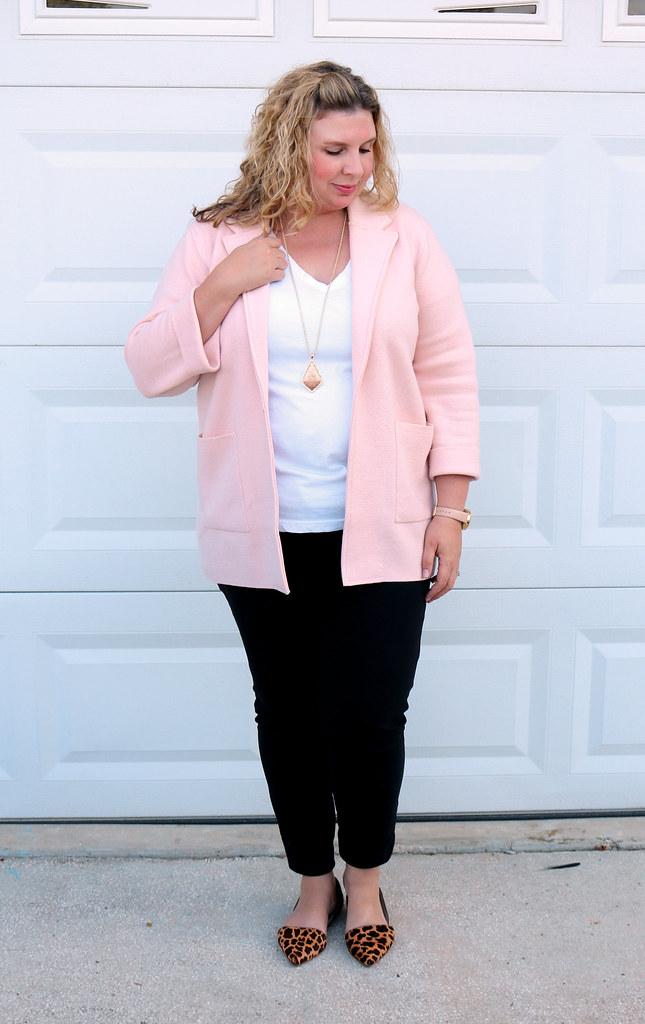blush sweater cardigan, white tee, black pencil pants, leopard flats 6
