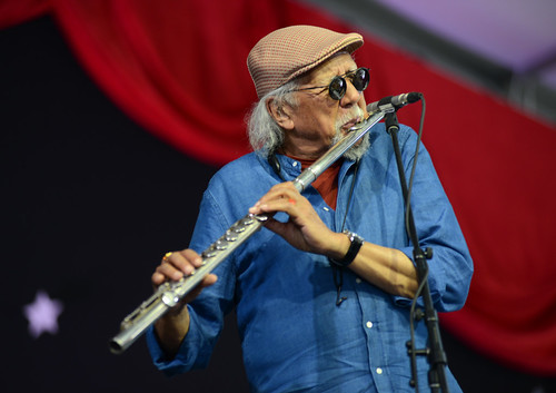 Charles Lloyd on Day 2 of Jazz Fest - 4.28.18. Photo by Leon Morris.