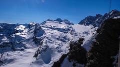 Widok z tarasu schroniska Marinelli Bombardieri 2813m. Pizzo Malenco 3400m., Pizzo Tremoggia 3441m, przełęcz Fuorcla Scerscen 3205m i lodowiec Vedretta di Scerscen Inferiore.