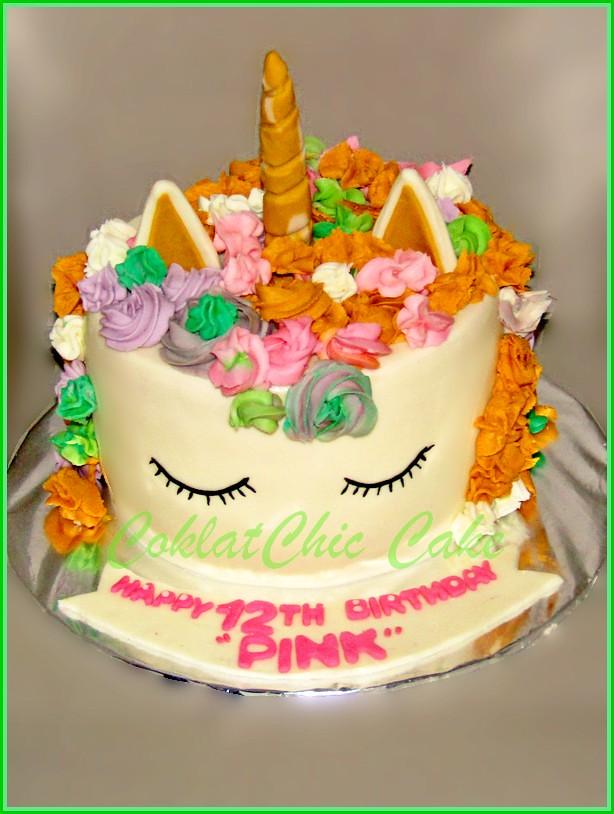 Cake Unicorn PINK 15 cm tinggi
