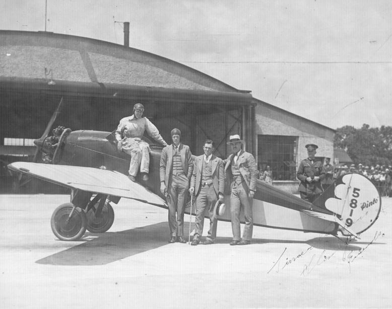Charles Lindbergh with Jimmy Doolittle and other members of his entourage at the Minneapolis, Minnesota, airport on August 23, 1927.