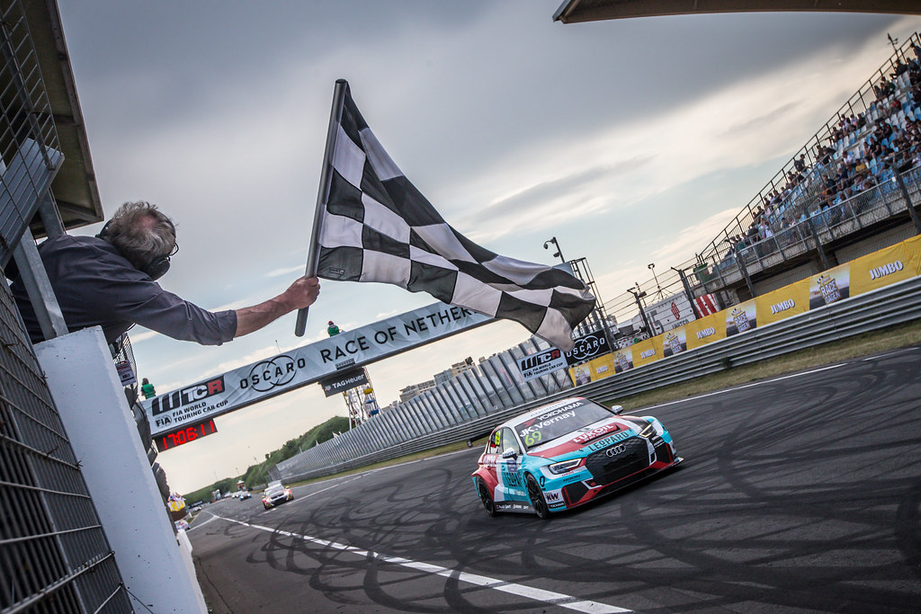 69 VERNAY Jean-Karl, (fra), Audi RS3 LMS TCR team Audi Sport Leopard Lukoil, action, finish line, during the 2018 FIA WTCR World Touring Car cup of Zandvoort, Netherlands from May 19 to 21 - Photo Jean Michel Le Meur / DPPI