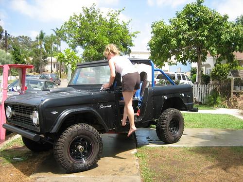 Mother washing car