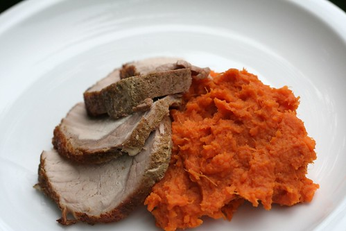 pork with cumin & spicy sweet potato mash