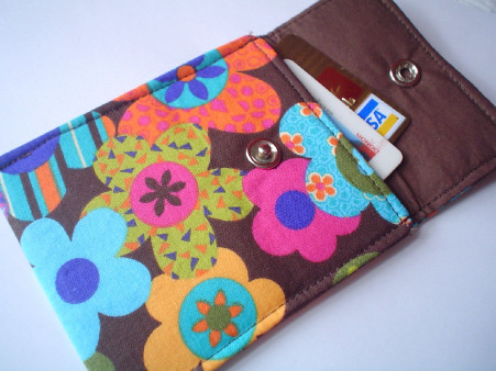retro flower wallet card case
