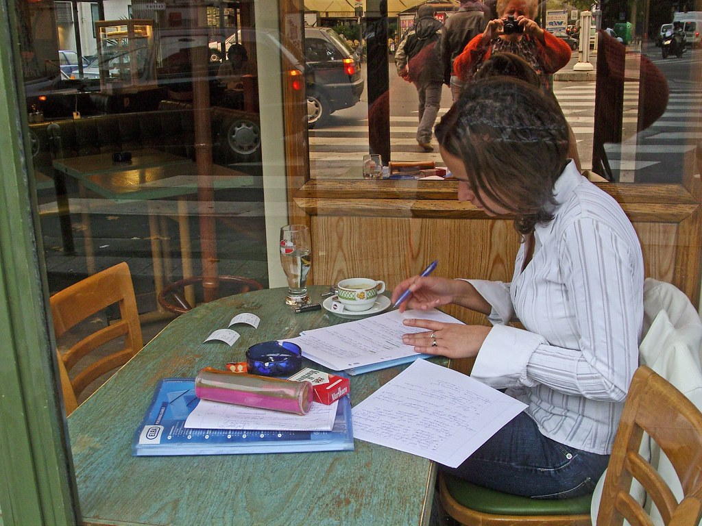 Studying in café, Paris 2006