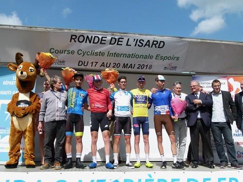 Siarhei Shauchenka (Team Cycliste Azuréen), Gage Hecht (Équipe nationale des U.S.A.), Joao Almeida (Équipe nationale du Portugal), Stephen Williams (SEG Racing Academy), Aurélien Paret-Peintre (Chambéry CF)