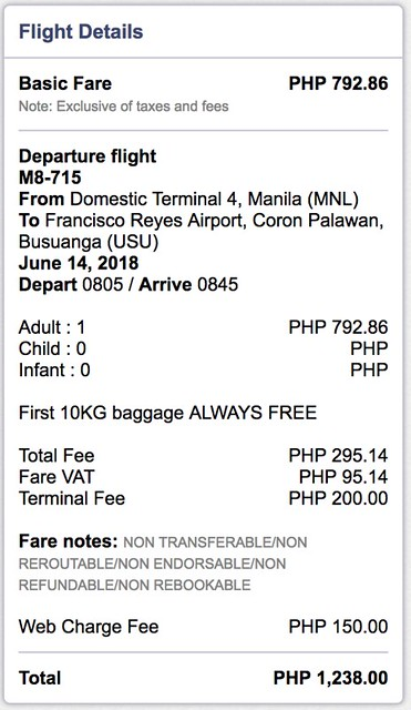 Manila to Coron SkyJet Airlines June 14, 2018 One-way Fare