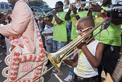 Da Knockaz Brass Band during Jazz Fest Day 7 on May 5, 2018. Photo by Ryan Hodgson-Rigsbee RHRphoto.com