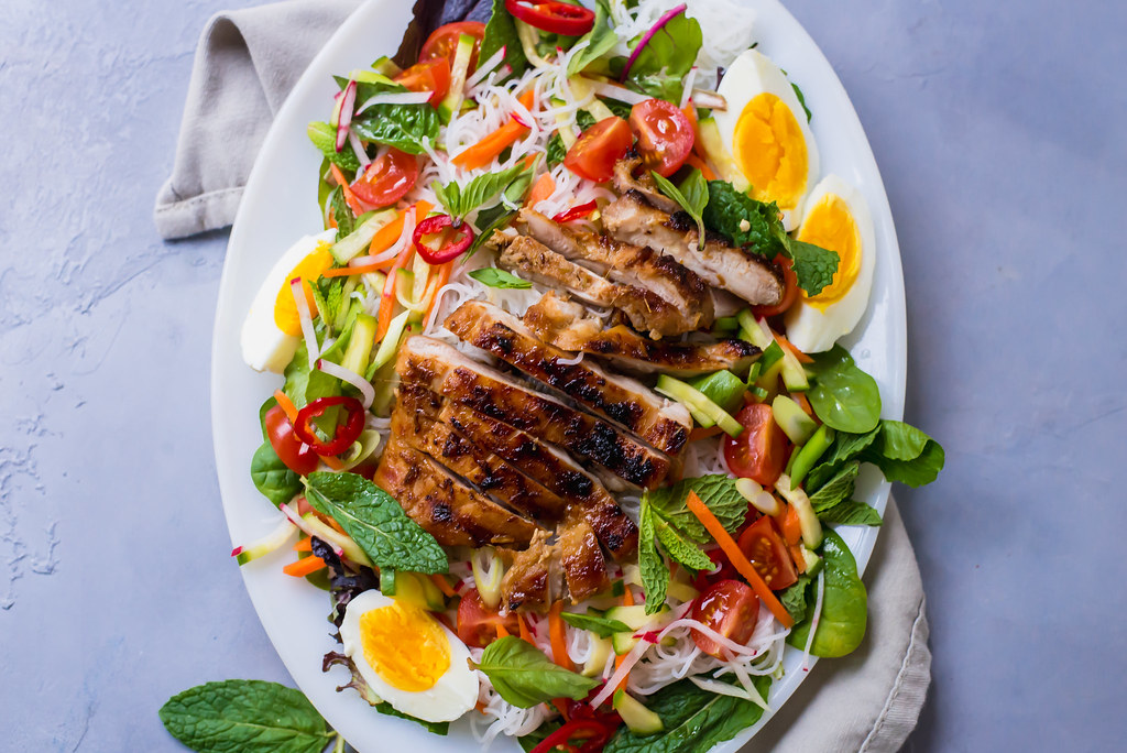 Rice Noodle Salad with Vietnamese Grilled Lemongrass Chicken and Pickled Vegetables