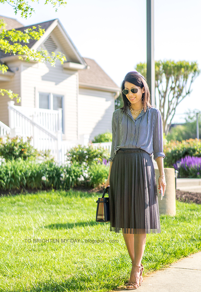 pave chain necklace, navy striped blouse, dark green tulle midi skirt, navy tote, brown sandals with knot