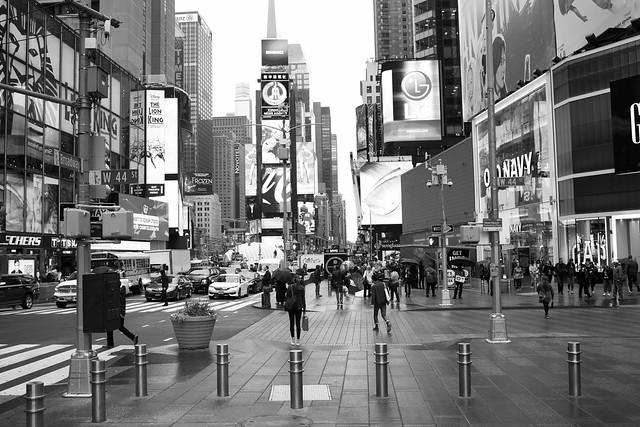 44th & Broadway in B&W