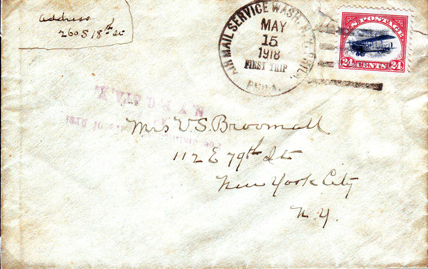 Cover flown on the first day of scheduled Air Mail Service in the U.S. and franked with the first U.S. Air Mail stamp, the 24 Cent