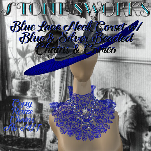 NeckCorset Blue Lace w CameoStone's Works_texture - TeleportHub.com Live!