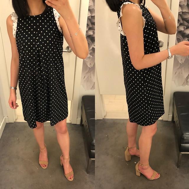 Ann Taylor Polka Dot Ruffle Shift Dress, size XSP