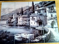 Village dis Lego tile mural on 15.2cm tiles at £192  www.tilemuralstore.co.uk  #tilemurals #kitchentiles #tuscany #landscape