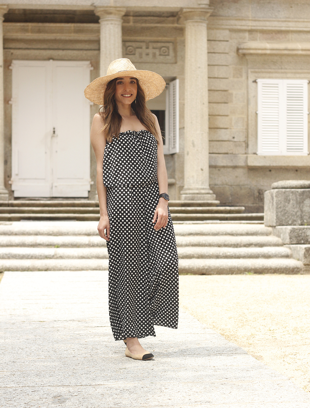 polka dot jumpsuit straw hat flat shoes street style spring outfit 201807