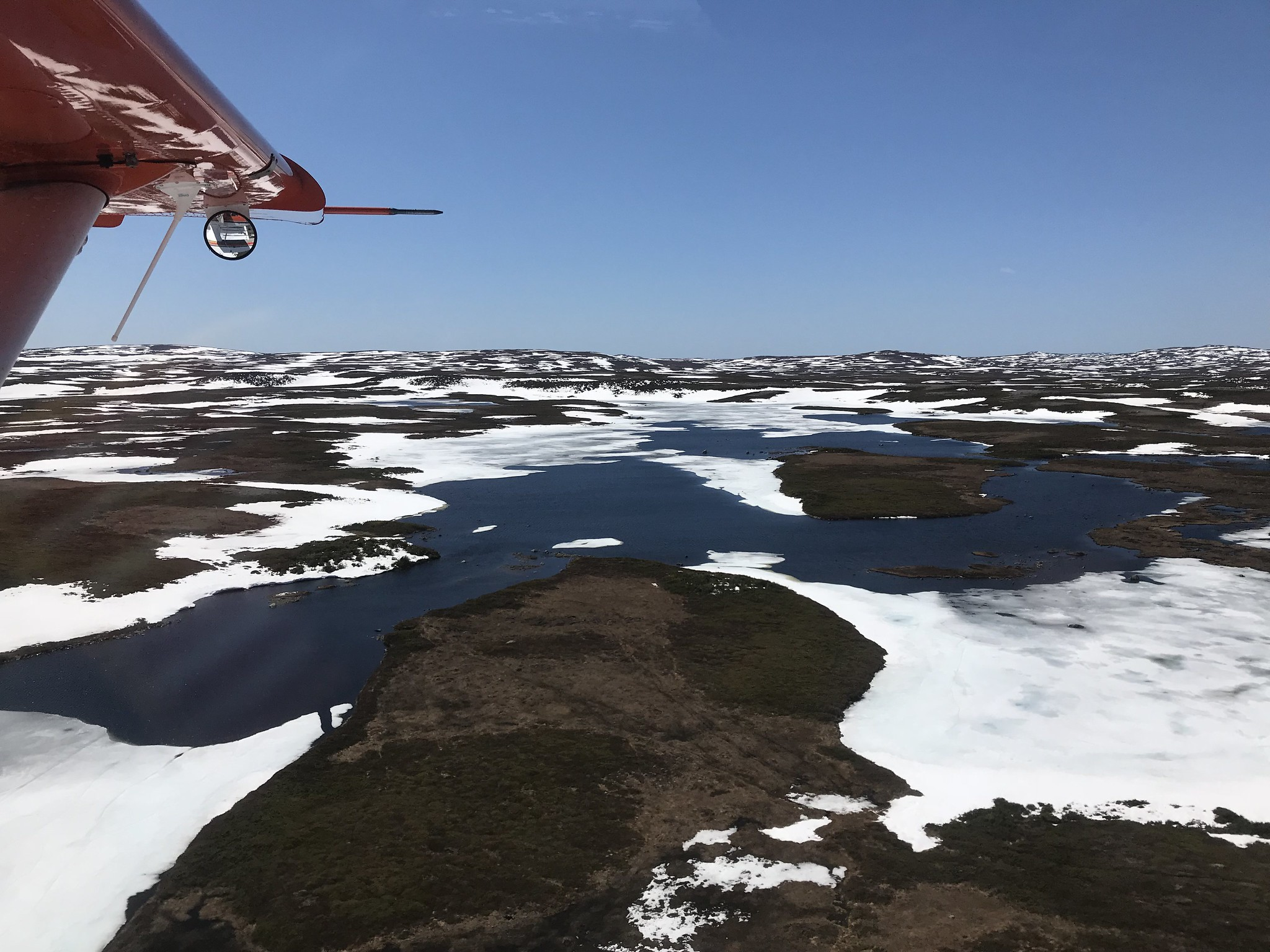 Still some snow and ice at higher elevations of the Long Range Mountains of southwestern  Newfoundland, May 2018 Photo Credit: USFWS