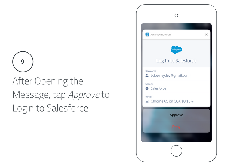 After Opening the Message, Tap Approve to Login to Salesforce Lightning Login