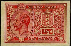Proof from a design prepared by Henry W. Barr, a designer with De La Rue & Co. It portrays an unofficial New Zealand Coat of Arms with a left-facing portrait of King George V. The design was rejected and never used. Image from the Virtual New Zealand Stamps blog.