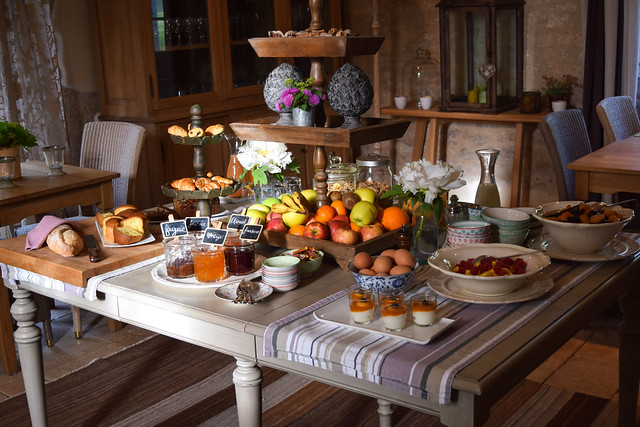 Breakfast Spread at Manoir de Malagorse, France #breakfast #hotel #travel #france
