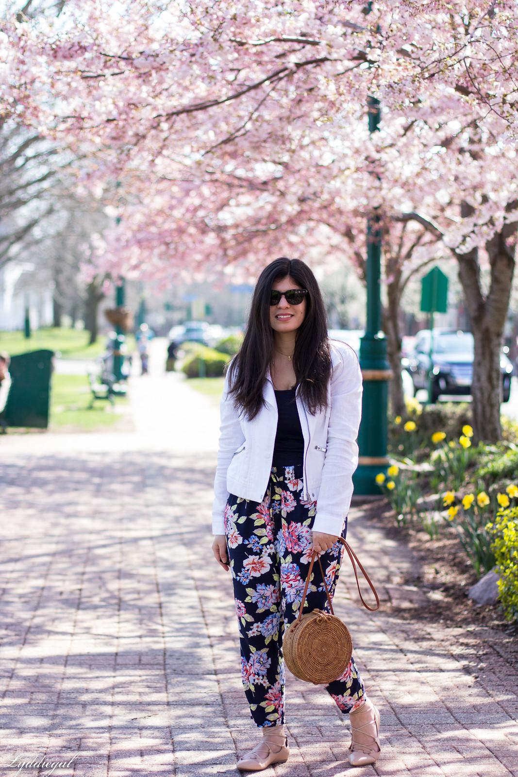 floral joggers, white linen jacket, round rattan bag-3.jpg