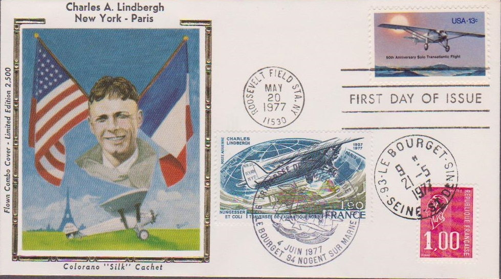 Combination first day cover with United States Scott #1710 postmarked at Roosevelt Field Station, New York, on May 20, 1977, and France Scott #C49 with a Le Bourget, Paris, France June 4, 1977 cancellation. Also franked with a French definitive postmarked upon arrival at Le Bourget on a transatlantic airmail flight, May 21, 1977. Colorano